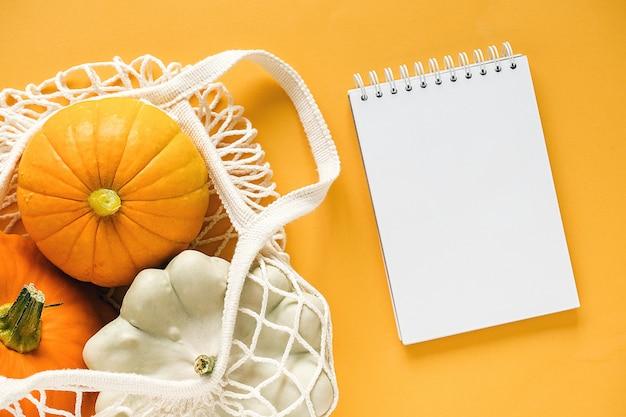 新鮮な収穫野菜ひょうたんカボチャ、ショッピング環境に優しいメッシュバッグと空白のメモ帳でパティパンスカッシュ