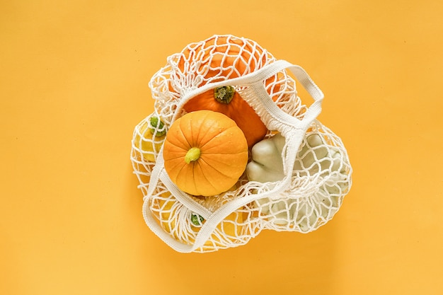 新鮮な収穫野菜ひょうたんカボチャ、パティパンスカッシュショッピング環境にやさしいメッシュバッグ