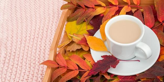 ピンクのパステルカラーのニット格子縞の背景の木製トレイにミルクとカラフルな葉とコーヒーのカップ。