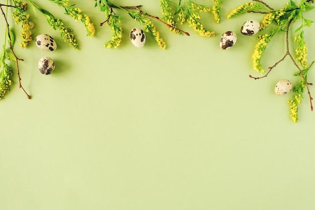 春のイースター花のフレーム。天然木の枝、黄色い花、コピースペースと緑の背景のウズラの卵。