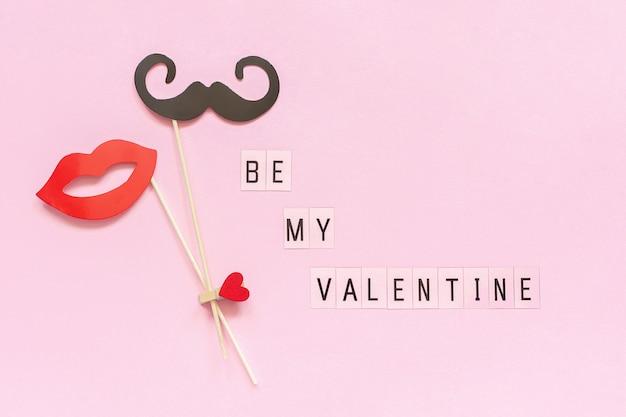テキスト私のバレンタインとカップルの紙のヒゲ、唇の小道具は洗濯挟み心を固定