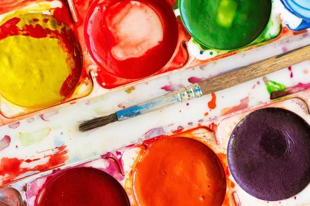 古い水彩絵の具、クローズアップ