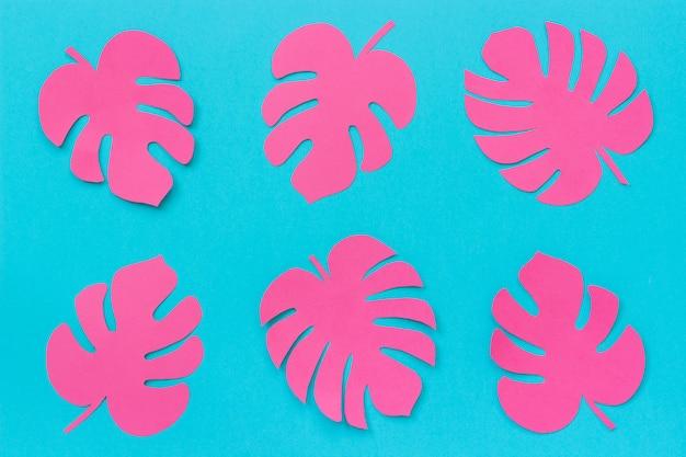 ピンクの熱帯葉青い背景上の紙のモンステラ。フラットレイトップビュークリエイティブペーパーアート