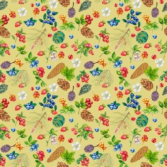 野生の果実と明るい背景にコーンのシームレスパターン