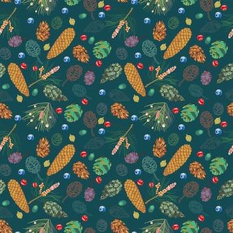 野生の果実と暗い背景上の円錐形のシームレスパターン