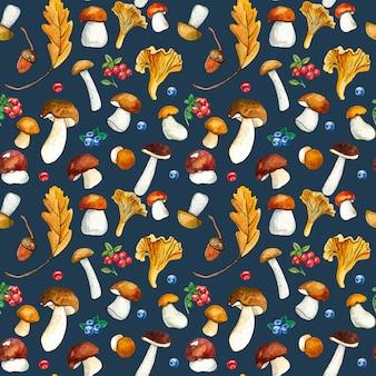 野生のキノコと暗闇の上の果実のシームレスパターン