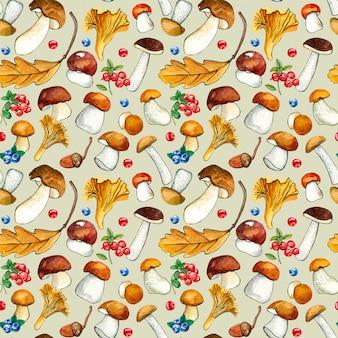 野生のキノコと白の果実のシームレスパターン