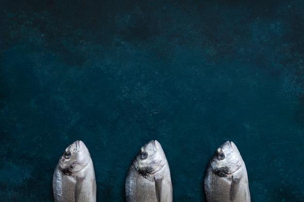 海の青いテーブルの上の新鮮なドラド魚。上面図、スペースをコピーします。