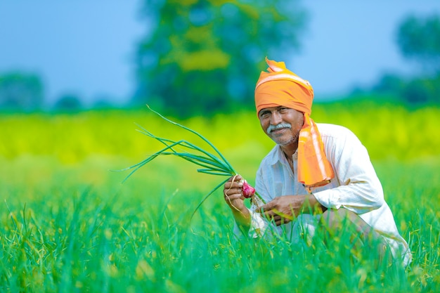 フィールドでインドの農家