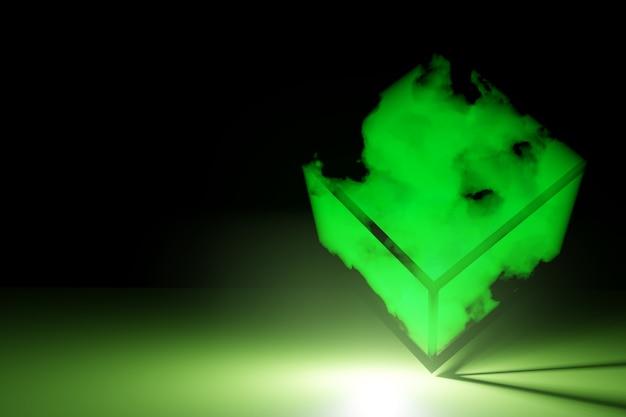 煙と輝く懐中電灯で抽象的な未来的なキューブ