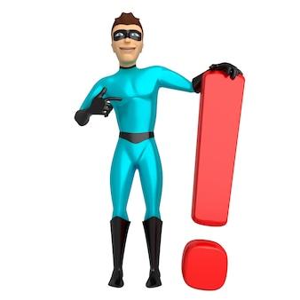青いスーツのスーパーヒーローキャラクターは感嘆符を保持