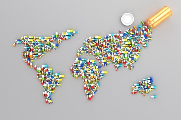 Много таблеток разбросано по белому фону в виде континентов карты мира