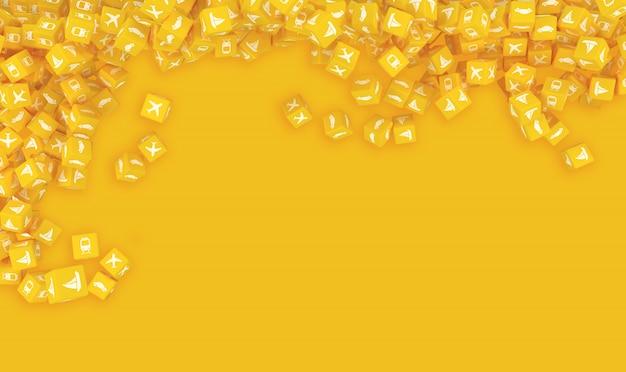 Много падающих желтых кубиков с транспортными средствами изображены фоном