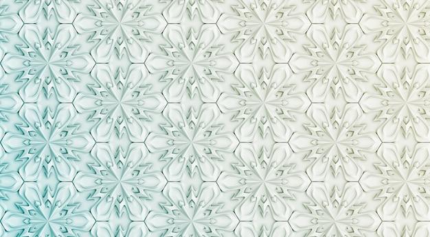 六つの尖った色の立体的な白い模様