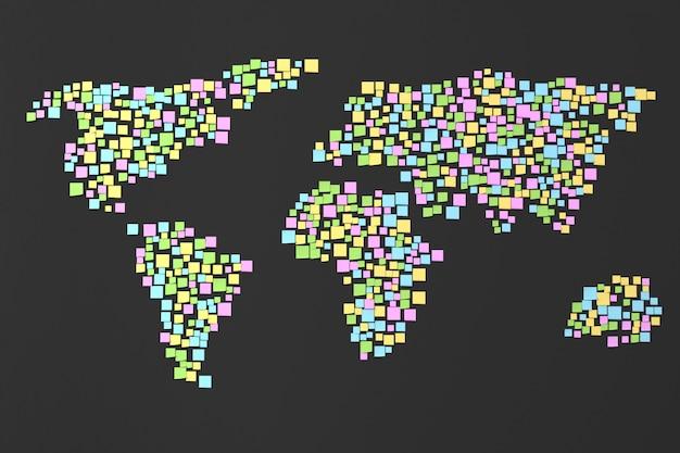 Карта мира из наклеек на стену