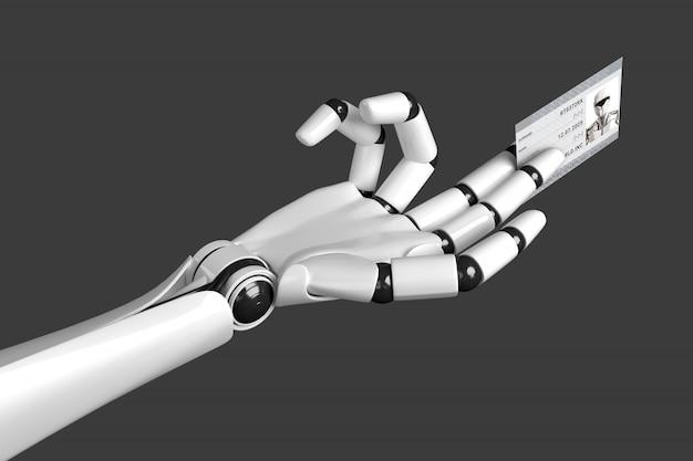 Рука робота протягивает карточку с паспортными данными