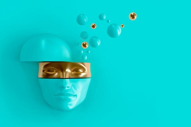 女性のボリュームフェイスはバラバラにカット。顔の一部はマスクを表します。