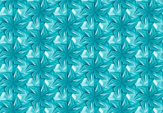 回転要素と幾何学的な青いシームレスパターン