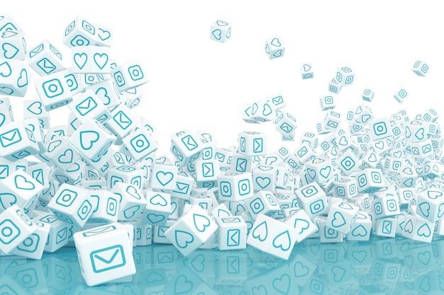 ソーシャルメディアの写真と落下ブロックがたくさん