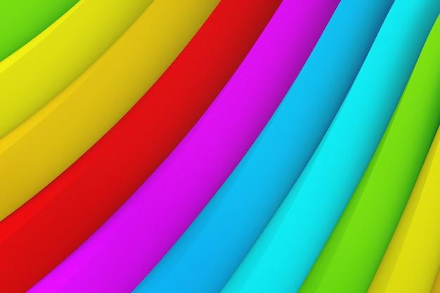 さまざまな色の多くの波状ストライプの抽象的な背景