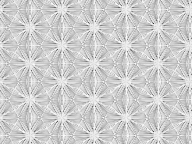 Трехмерный светлый геометрический рисунок с шестиконечными цветами