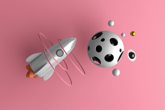 宇宙を飛んでいるロケットの概念図
