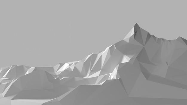 白い山の低ポリ画像