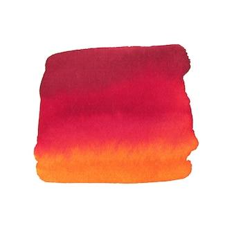 夏の水彩画の背景。抽象的なテクスチャが白で隔離。赤とオレンジ色の印刷可能な水彩画の背景。
