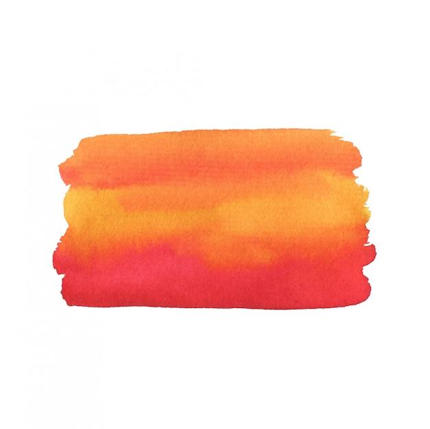 エキゾチックな水彩画の背景。抽象的なテクスチャが白で隔離。赤とオレンジ色の印刷可能な水彩画の背景。