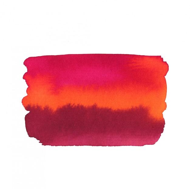 明るい水彩画の背景。抽象的なテクスチャが白で隔離。赤とピンクの色で印刷可能な水彩画の背景。