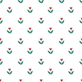 赤いチューリップとかわいいのシームレスパターン。