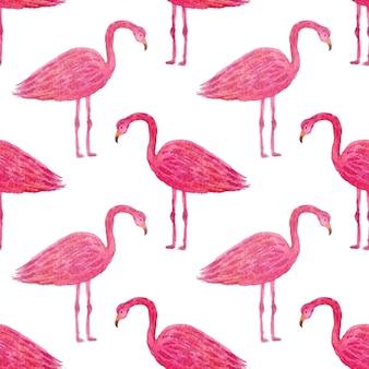 ピンクのフラミンゴと熱帯のパターン。