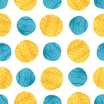 水彩の黄色と青の円のシームレスパターン。