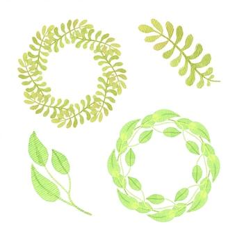 緑の葉とフレームのセット。孤立した水彩画コレクション。パッケージデザインや招待状に。