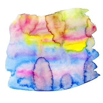 虹色の水彩画の背景。水彩の明るいフリーハンド塗料。