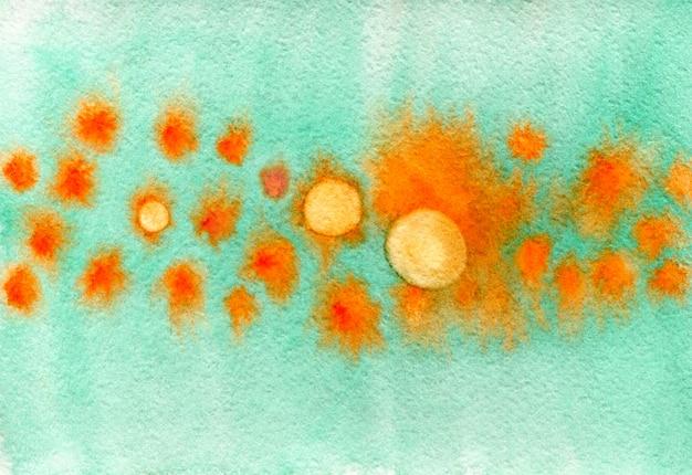 サークルとユニークな水彩画の質感。オレンジとターコイズ色の水彩の抽象的な背景。プラカードやポストカードのためのスタイリッシュな背景。