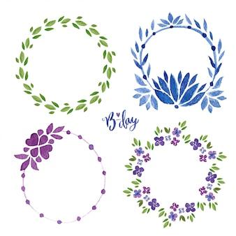 水彩花のフレームコレクション。花輪スプリングセット。招待状やグリーティングカードのための花