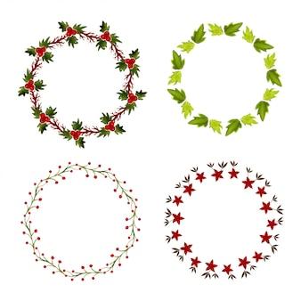水彩花のフレームコレクション。花輪を設定します。招待状やグリーティングカード