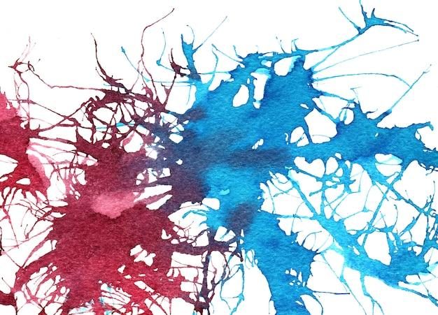 抽象的な背景スプラッシュ赤と青の水彩画の背景。グランジはね組成