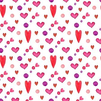 バレンタインデー。水彩心シームレスパターン。ロマンチックな塗装