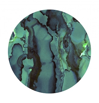 明るい水彩スポット。塗装済みのターコイズサークル。白で隔離される抽象的なテクスチャ。絵画の装飾。