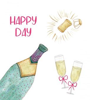 Акварельная бутылка шампанского и бокал на новый год или другие праздничные украшения. свадебный нарисованный дизайн.