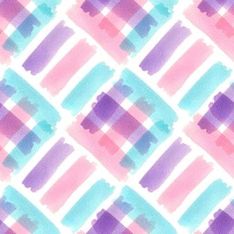 カラフルなストロークで水彩のシームレスパターン。モダンなテキスタイルデザイン