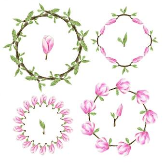 水彩花のフレームコレクション。花輪マグノリアの花セット