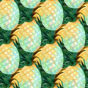 Акварель абстрактный бесшовный паттерн с ананасами. модный дизайн полиграфии.