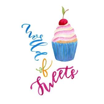 水彩カップケーキのイラスト。甘いアート