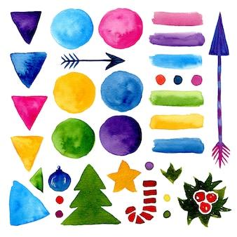 水彩の装飾。ハンドペイントの図形と新年の要素