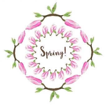 水彩春フレーム。マグノリアの花の花輪