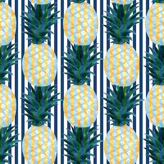 Акварельные ананасы бесшовный образец в абстрактном стиле. модный летний принт-дизайн