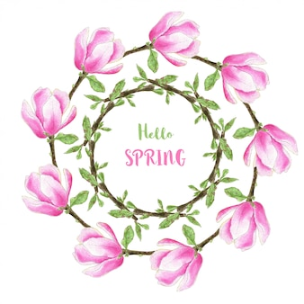 マグノリアの花の招待状やグリーティングカードのデザインの水彩画春フレーム